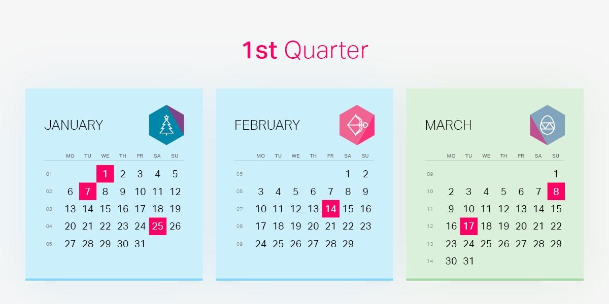 1st Quarter Of Holiday Marketing Calendar 2020